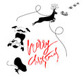 Santa Claus fall from sleigh with harness on the reindeer. Black and white vector illustration. Chtistmas lettering Royalty Free Stock Photo