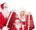 Santa claus family with child holding  gift box.. Royalty Free Stock Photo