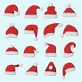 Santa claus fashion red hat modern elegance cap winter xmas holiday top clothes vector illustration.