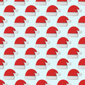 Santa claus fashion red hat modern seamless pattern cap winter xmas holiday top clothes vector illustration.
