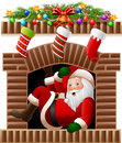 Santa Claus in the fireplace