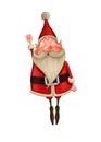 Santa claus flies happy on white background Stock Image