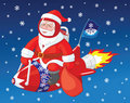 Santa Claus flies on the rocket Royalty Free Stock Photo