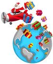 Santa Claus Flying Airplane Christmas World