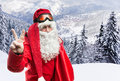 Santa claus in forest with the sack of gifts the Stock Photography