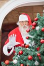 Santa claus gesturing from christmas tree portrait of Royalty Free Stock Image