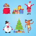 Santa Claus, gift bags with gifts, snowman, christmas tree, reindeer set