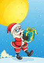 A santa claus and gift box llustration of Stock Photo