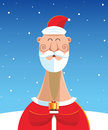 Santa Claus with gift over snow landscape background. Royalty Free Stock Photo