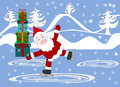 Santa Claus with gifts in the boxes skate at the rink Royalty Free Stock Photo