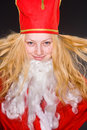Santa Claus Girl with beard Royalty Free Stock Image