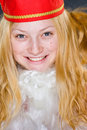 Santa Claus Girl smiling Stock Photography