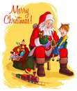 Santa Claus give presents to children Stock Image