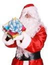 Santa Claus giving gift box . Royalty Free Stock Photo