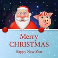 Funny Santa Claus and a pig, happy New Year and Merry Christmas. Vector illustration.