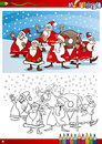 Santa claus group coloring page book or cartoon illustration of themes set with with christmas presents and decorations for Stock Images