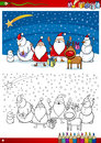 Santa claus group coloring page book or cartoon illustration of themes set with with christmas presents and decorations for Royalty Free Stock Images