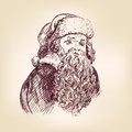 Santa Claus hand drawn vector llustration Stock Photos