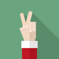 Santa Claus hand show victory sign Royalty Free Stock Photo