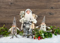 Santa claus and happy kids christmas decoration cute in snow Stock Photo