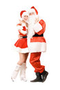 Santa Claus and happy Snow Maiden Stock Photos