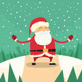 Santa Claus Happy Standing Winter Snow Forest Road Royalty Free Stock Photo