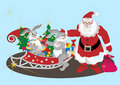 Santa Claus with hares. Illustration.Background Stock Photo