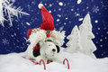 Santa claus has fun in the snow and polar bear on a sledge ride down a covered hill Royalty Free Stock Photography