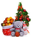 Santa Claus hat and Christmas tree with baubles soft teddy bear toy snow man Royalty Free Stock Photo