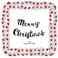 Santa Claus Hats Christmas Round Frame for Holiday Card