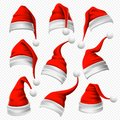 Santa Claus hats. Christmas red hat, xmas furry headdress and winter holidays head wear decoration 3D vector set Royalty Free Stock Photo