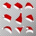 Santa claus hats realistic vector illustrations set Royalty Free Stock Photo