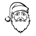Santa Claus head. Vector black contour. Christmas illustration. Royalty Free Stock Photo