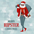 Santa claus in hipster style dressed a trendy Stock Photography