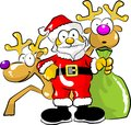 Santa claus with his bag of gifts and two reindeer funny illustration standing a gift Stock Images