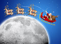 Santa Claus in his deer sled Royalty Free Stock Image