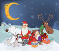 Santa claus with his friends and christmas gifts fine animals in the winter evening Royalty Free Stock Photography