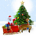 Santa claus with his sleigh. Royalty Free Stock Image
