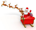 Santa claus with his sleigh d rendered illustration of Stock Images