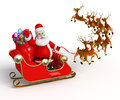 Santa claus with his sleigh d rendered illustration of Royalty Free Stock Images