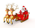 Santa claus with his sleigh d rendered illustration of Stock Photography
