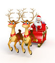 Santa claus with his sleigh d rendered illustration of Royalty Free Stock Photography