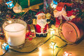 Santa claus hold bell, white and violet christmas candle, Ornament decorate Merry Christmas and happy new year