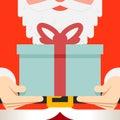 Santa Claus hold hands gift present beard belt