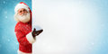 Santa Claus holding copyspace blank sign for Your Text Royalty Free Stock Photo