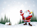 Santa claus holding a gift box separate grouped layers in the file only simple gradient no meshes Royalty Free Stock Photos