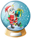 Santa claus holding a gift inside the snow ball illustration of on white background Royalty Free Stock Image