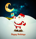 Santa claus holding gift under moonlight layered eps vector background Stock Photography