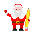 Santa claus holds a pencil illustration of on white background Royalty Free Stock Photography