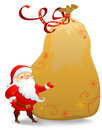 Santa Claus with huge sack Stock Photo